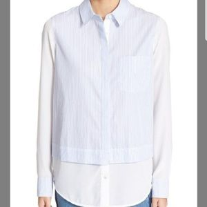 Vince cotton silk striped shirt
